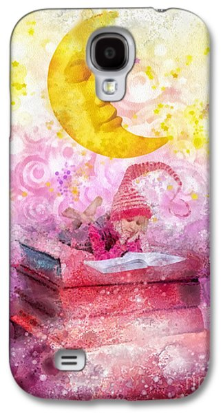 Little Girls Mixed Media Galaxy S4 Cases - Little Reader Galaxy S4 Case by Mo T