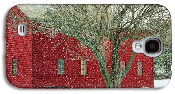 Outbuildings Galaxy S4 Cases - Little Red in Winter Galaxy S4 Case by Nikolyn McDonald