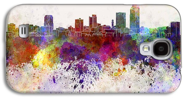Arkansas Paintings Galaxy S4 Cases - Little Rock skyline in watercolor background Galaxy S4 Case by Pablo Romero