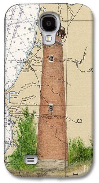 Chart Paintings Galaxy S4 Cases - Little Sable Lighthouse Lake MI Nautical Chart Map Art Cathy Peek Galaxy S4 Case by Cathy Peek