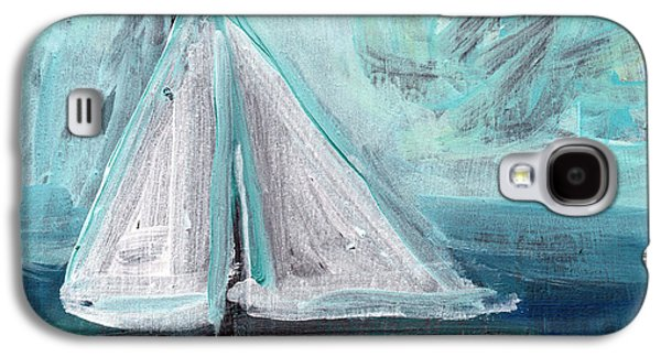 Sailboat Ocean Galaxy S4 Cases - Little Sailboat- Expressionist Painting Galaxy S4 Case by Linda Woods