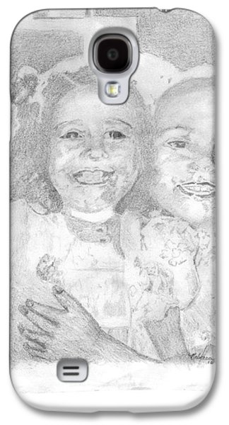 Sisters Drawings Galaxy S4 Cases - Little Sister Galaxy S4 Case by Rebecca Christine Cardenas