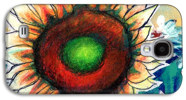 Colored Pencil Abstract Drawings Galaxy S4 Cases - Little Sunflower Galaxy S4 Case by Genevieve Esson