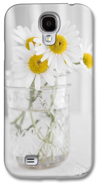 Chair Galaxy S4 Cases - Little white daisy flowers over white Galaxy S4 Case by Edward Fielding