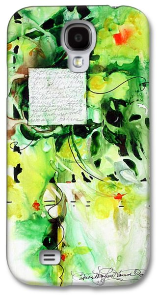 Curvilinear Paintings Galaxy S4 Cases - Little yellow flowers dancing in the breeze Galaxy S4 Case by Patricia Mayhew Hamm