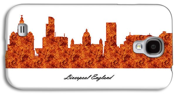 Digital Galaxy S4 Cases - Liverpool England Raging Fire Skyline Galaxy S4 Case by Gregory Murray