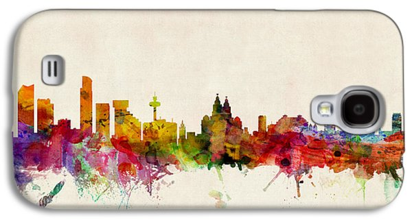 Great Britain Galaxy S4 Cases - Liverpool England Skyline Galaxy S4 Case by Michael Tompsett