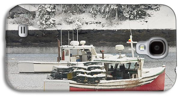 Maine Winter Galaxy S4 Cases - Lobster Boats After Snowstorm in Tenants Harbor Maine Galaxy S4 Case by Keith Webber Jr