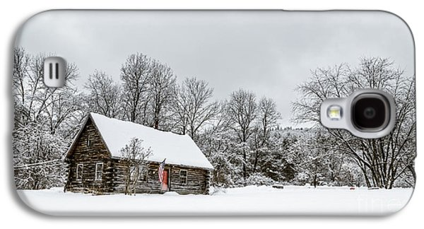 Cabin Window Galaxy S4 Cases - Log cabin in the snow Galaxy S4 Case by Edward Fielding