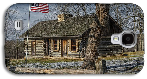 Log Cabin Photographs Galaxy S4 Cases - Log Cabin Outpost in Missouri with American Flag Galaxy S4 Case by Randall Nyhof