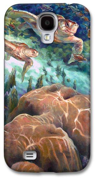 Brain Paintings Galaxy S4 Cases - Loggerhead Sea Journey I Galaxy S4 Case by Nancy Tilles