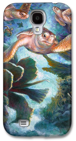 Brain Paintings Galaxy S4 Cases - Loggerhead Sea Journey II Galaxy S4 Case by Nancy Tilles