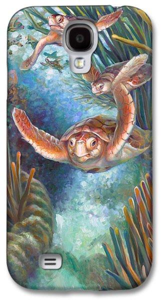 Brain Paintings Galaxy S4 Cases - Loggerhead Sea Journey III Galaxy S4 Case by Nancy Tilles