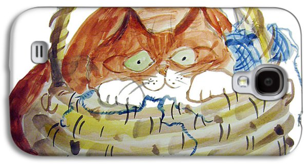 Basket Ball Paintings Galaxy S4 Cases - Lois Hides in the Basket of Knitting Galaxy S4 Case by Ellen Miffitt