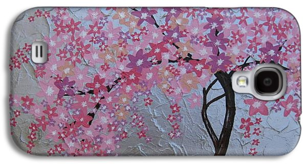 Cherry Blossoms Mixed Media Galaxy S4 Cases - London blossoms Galaxy S4 Case by Cathy Jacobs