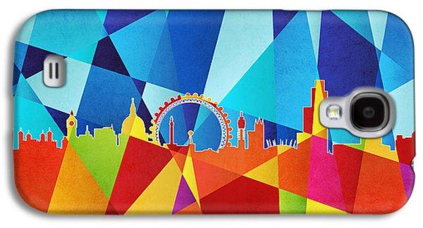 Abstract Geometric Galaxy S4 Cases - London England Skyline Galaxy S4 Case by Michael Tompsett