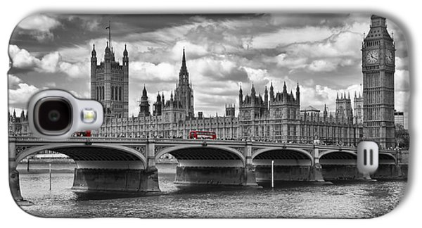 House Digital Art Galaxy S4 Cases - LONDON - Houses of Parliament and Red Buses Galaxy S4 Case by Melanie Viola