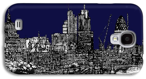 Architecture Framed Prints Galaxy S4 Cases - London roofscape in navy blue Galaxy S4 Case by Lee-Ann Adendorff