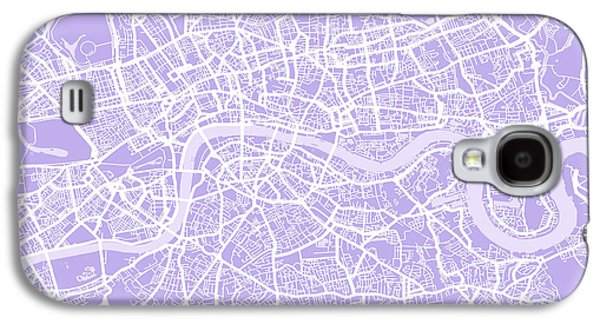 Great Britain Galaxy S4 Cases - London Map Lilac Galaxy S4 Case by Michael Tompsett