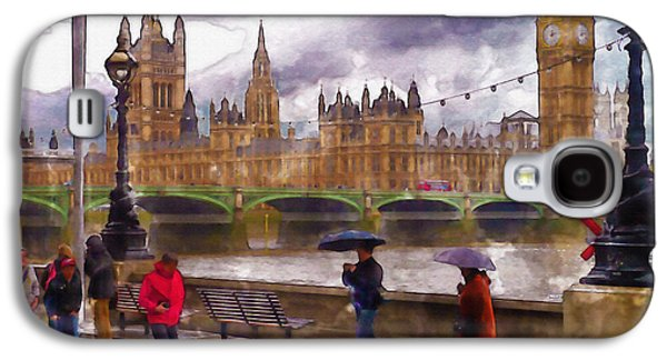 Lamp Post Mixed Media Galaxy S4 Cases - London Rain watercolor Galaxy S4 Case by Marian Voicu