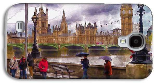 """""""square """" Mixed Media Galaxy S4 Cases - London Rain watercolor Galaxy S4 Case by Marian Voicu"""