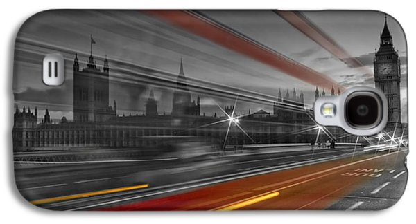 Evening Digital Galaxy S4 Cases - LONDON Red Bus Galaxy S4 Case by Melanie Viola