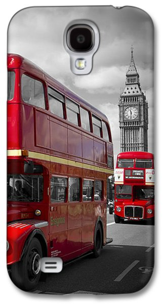 Decorative Photographs Galaxy S4 Cases - LONDON Red Buses on Westminster Bridge Galaxy S4 Case by Melanie Viola