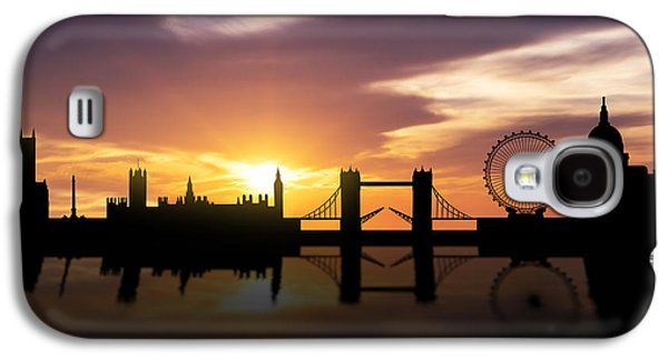 Skylines Mixed Media Galaxy S4 Cases - London Sunset Skyline  Galaxy S4 Case by Aged Pixel