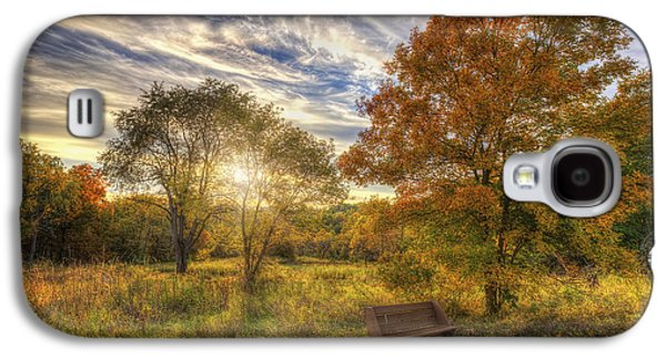 The Nature Center Galaxy S4 Cases - Lone Bench Under Tree - Fall Sunset - Retzer Nature Center - Waukesha Wisconsin Galaxy S4 Case by Jennifer Rondinelli Reilly