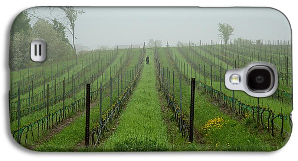 Laborers Galaxy S4 Cases - Lone Figure in Vineyard in the Rain on the Mission Peninsula Michigan Galaxy S4 Case by Mary Lee Dereske