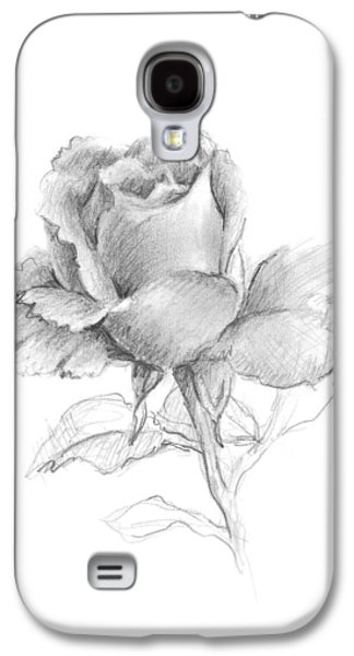 Interior Still Life Drawings Galaxy S4 Cases - Lone Rose Galaxy S4 Case by Sarah Parks