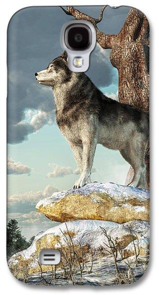 Wolves Digital Galaxy S4 Cases - Lone Wolf Galaxy S4 Case by Daniel Eskridge