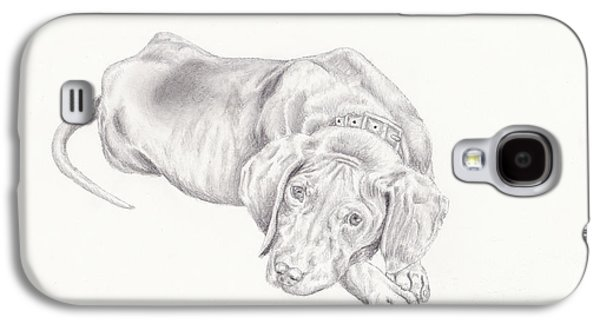 Puppy Drawings Galaxy S4 Cases - Lonely Pup Galaxy S4 Case by Theresa Stinnett