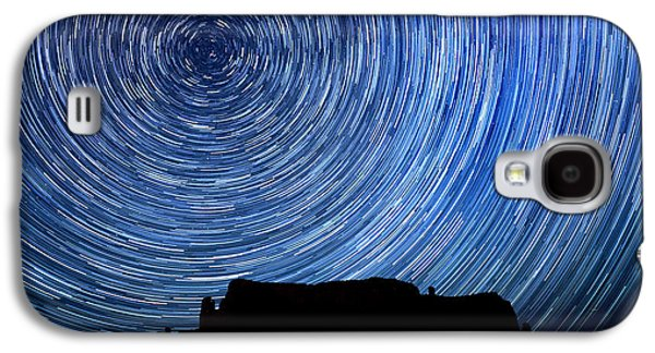 Constellations Pyrography Galaxy S4 Cases - Long Exposure Star Trail Image at Night Galaxy S4 Case by Katrina Brown