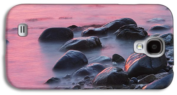 Maine Photographs Galaxy S4 Cases - Long Exsposure Of Rocks And Waves At Sunset Maine Galaxy S4 Case by Keith Webber Jr