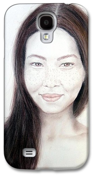 Beauty Mark Mixed Media Galaxy S4 Cases - Long Haired Natural Asian Beauty Galaxy S4 Case by Jim Fitzpatrick
