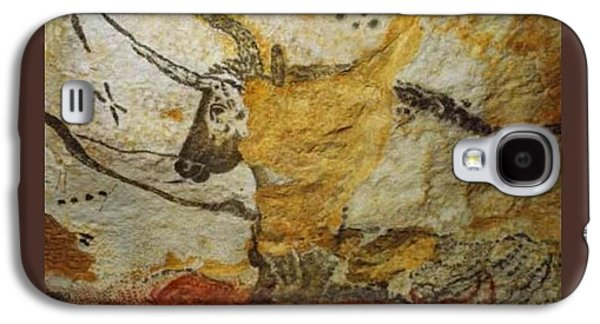 Bison Drawings Galaxy S4 Cases - Long Horn Bull Upsized a little Border Galaxy S4 Case by L Brown