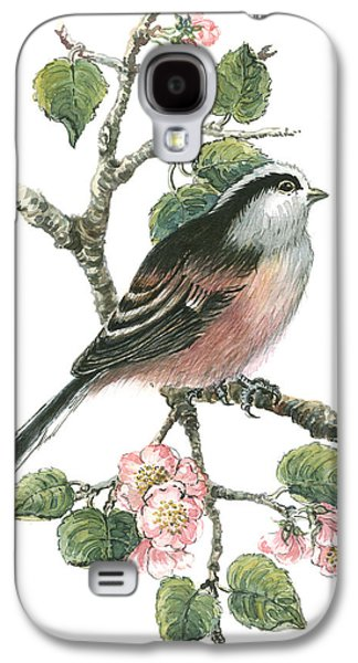 Cherry Blossoms Galaxy S4 Cases - Long Tailed Tit and Cherry Blossom Galaxy S4 Case by Nell Hill