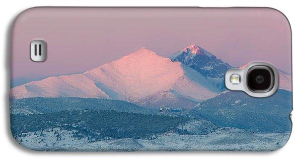 Lady Washington Galaxy S4 Cases - Longs Peak Alpenglow in Winter Galaxy S4 Case by Aaron Spong