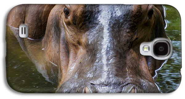 Hippopotamus Digital Galaxy S4 Cases - Look me in the eyes Galaxy S4 Case by Aged Pixel