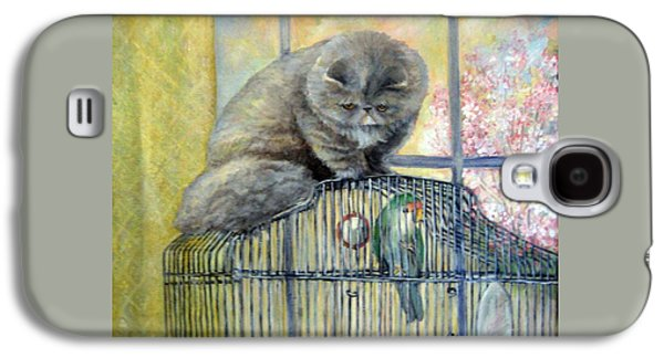 Cage Paintings Galaxy S4 Cases - Lookin for Grub in All the Wrong Places Galaxy S4 Case by Donna Tucker