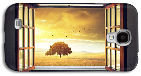 Garden Scene Digital Art Galaxy S4 Cases - Looking out the Window Galaxy S4 Case by Carlos Caetano