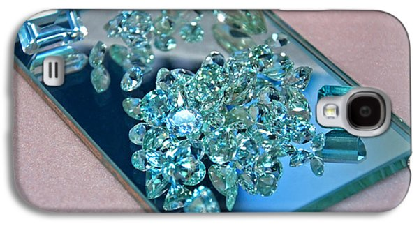 Component Photographs Galaxy S4 Cases - Loose Aquamarine Gemstones on Mirror Galaxy S4 Case by Valerie Garner