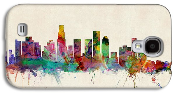 City Digital Art Galaxy S4 Cases - Los Angeles City Skyline Galaxy S4 Case by Michael Tompsett