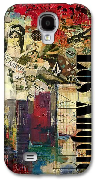 Cities Paintings Galaxy S4 Cases - Los Angeles Collage  Galaxy S4 Case by Corporate Art Task Force