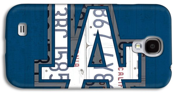Handmade Galaxy S4 Cases - Los Angeles Dodgers Baseball Vintage Logo License Plate Art Galaxy S4 Case by Design Turnpike