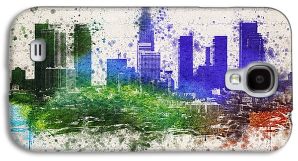 Skylines Mixed Media Galaxy S4 Cases - Los Angeles in color  Galaxy S4 Case by Aged Pixel