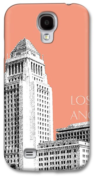 Los Angeles Skyline City Hall - Salmon Galaxy S4 Case by DB Artist