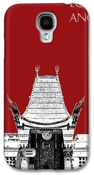 Los Angeles Skyline Graumans Chinese Theater - Dark Red Galaxy S4 Case by DB Artist