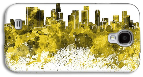 Skylines Paintings Galaxy S4 Cases - Los Angeles skyline in yellow watercolor on white background Galaxy S4 Case by Pablo Romero
